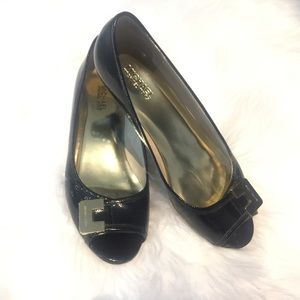 Michael Kors Open Toe Patent Leather Wedge